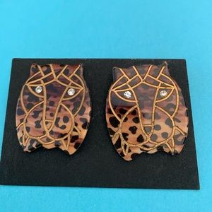 Vintage tiger Art Deco earrings